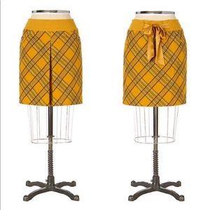 Anthro Taikonhu yellow plaid corduroy skirt sz S